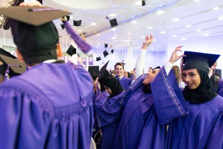 people celebrating commencement 2020