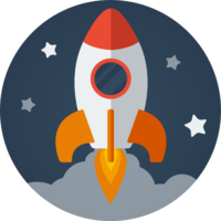 an animated rocket